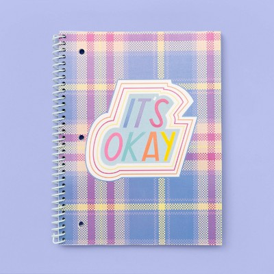 "More Than Magic™ Spiral 1-Subject Girl Talk Flocking Notebook ""its okay"""
