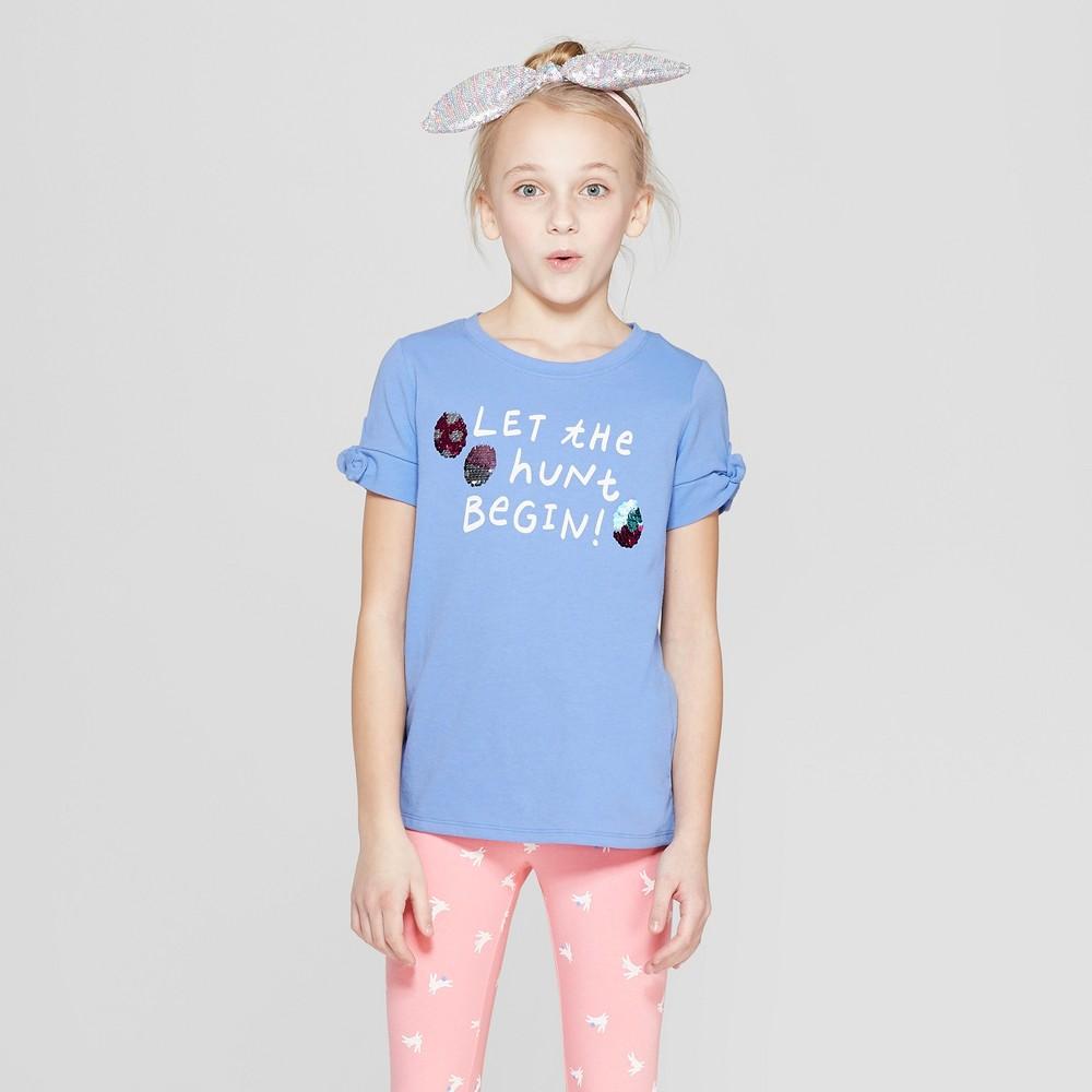 Girls' Flip Sequin Tie Sleeve Easter Egg Graphic T-Shirt - Cat & Jack Blue M