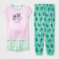 Girls' 3pc Dog Print Pajama Set - Cat & Jack™ Heather Violet