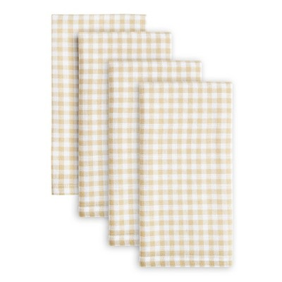 4pk Cotton Gingham Woven Napkins Beige - Town & Country Living