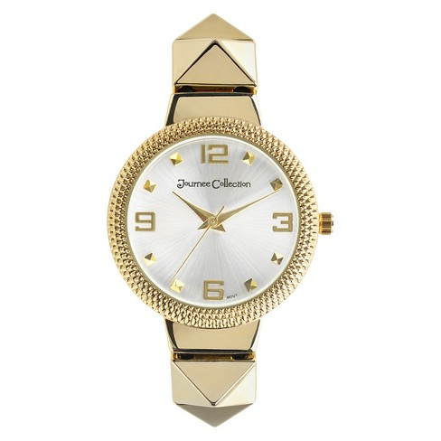 Women's Journee Collection Rhinestone Accented Pyramid Metal Link Stretch Watch - Gold - image 1 of 2
