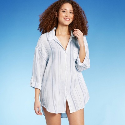 Women's Button-Up Cover Up Shirt Dress - Kona Sol™ Fresh White/Blue