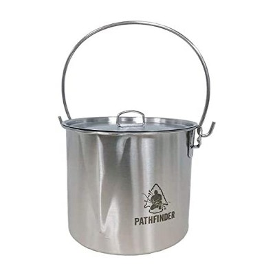 Pathfinder Stainless Steel 64 Ounce Durable Fire Ready Bush Pot and Lid w/ Cool Wing Handle, Pour Spout, and Heavy Duty D Ring for Camping and Hiking