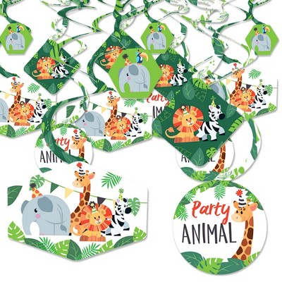 Big Dot of Happiness Jungle Party Animals - Safari Zoo Animal Birthday Party or Baby Shower Hanging Decor - Party Decoration Swirls - Set of 40