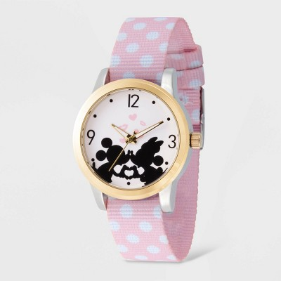 Women's Disney Mickey and Minnie Mouse Two-Tone Reversible Nylon Strap Watch - Pink