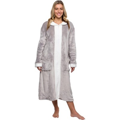 Silver Lilly - Women's Plush Zip Up Sherpa Lined Robe