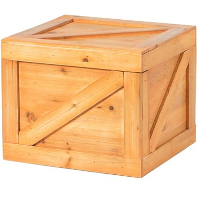 Vintiquewise Square Decorative Wooden Chest Trunk - Small