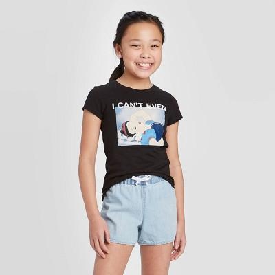 Girls' Disney Princess Snow White 'I Can't Even' Short Sleeve Graphic T-Shirt - Black