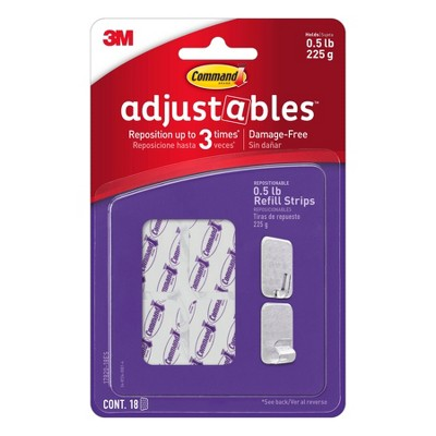 Command 1/2 lb Adjustable Repositionable Refill Strips
