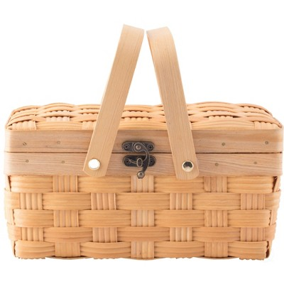 Vintiquewise Small Woodchip Picnic Basket with Cover and Folding Handles