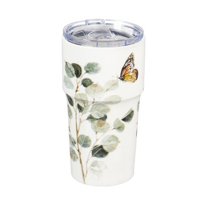 Cypress Home Double Wall Ceramic Companion Cup with Tritan Lid, 13 OZ, Botanical Dreamer
