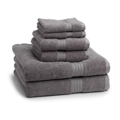 6pc Signature Solid Bath Towel Set Alloy Gray - Cassadecor