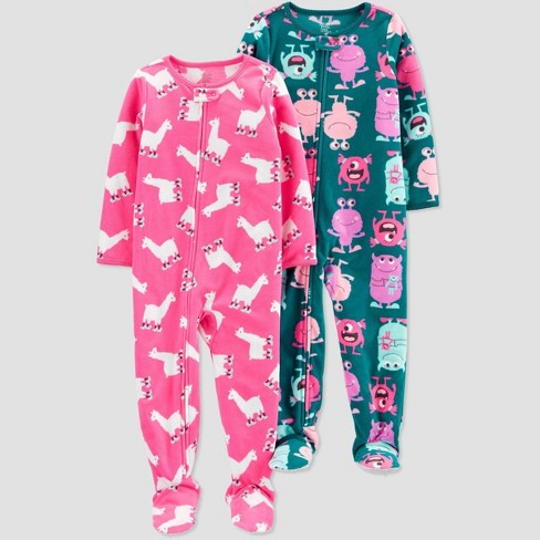 Toddler Girls' Monster Fleece One Piece Pajama - Just One You® made by carter's Green - image 1 of 1