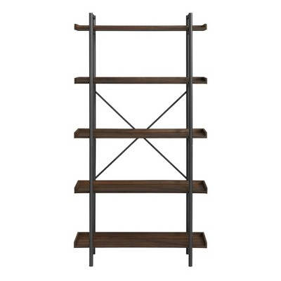 "68"" 5 Tray Shelf Urban Pipe X Back Bookshelf Dark Walnut - Saracina Home"