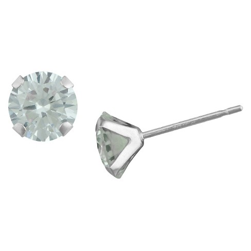 Round Cubic Zirconia Round Stud Earrings in 10K White Gold (4mm) - image 1 of 1