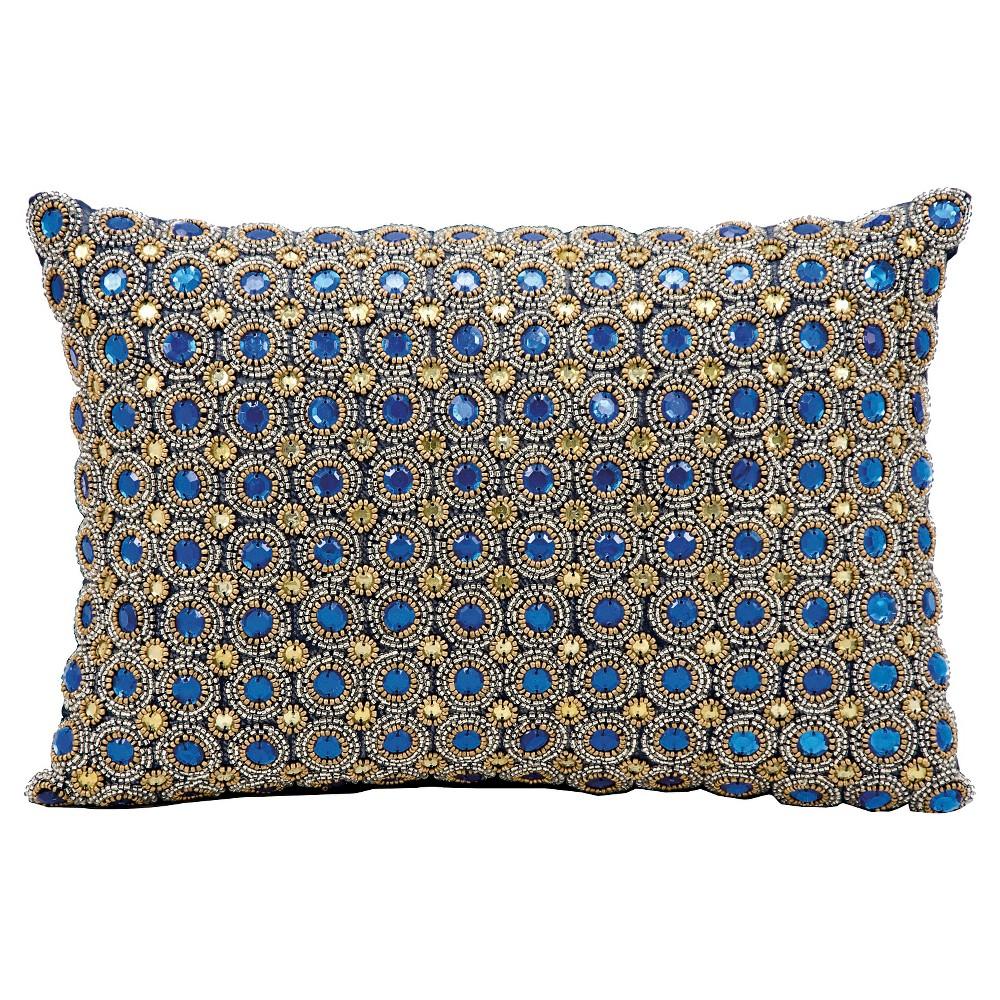 Marble Beads Throw Pillow Sapphire (Blue) (10