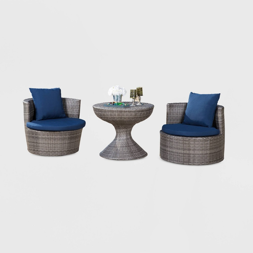 Manchester Outdoor Wicker 3pc Patio Chat Set - Gray /Navy - Abbyson Living, Gray/Blue