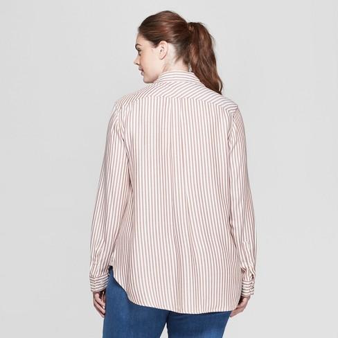 cde7b4124c64ec Women s Plus Size Striped Long Sleeve Collared Button-Down Shirt - Ava   Viv™  Brown 2X   Target