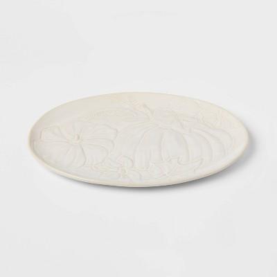 "10"" x 15"" Stoneware Pumpkin Oval Serving Platter - Threshold™"