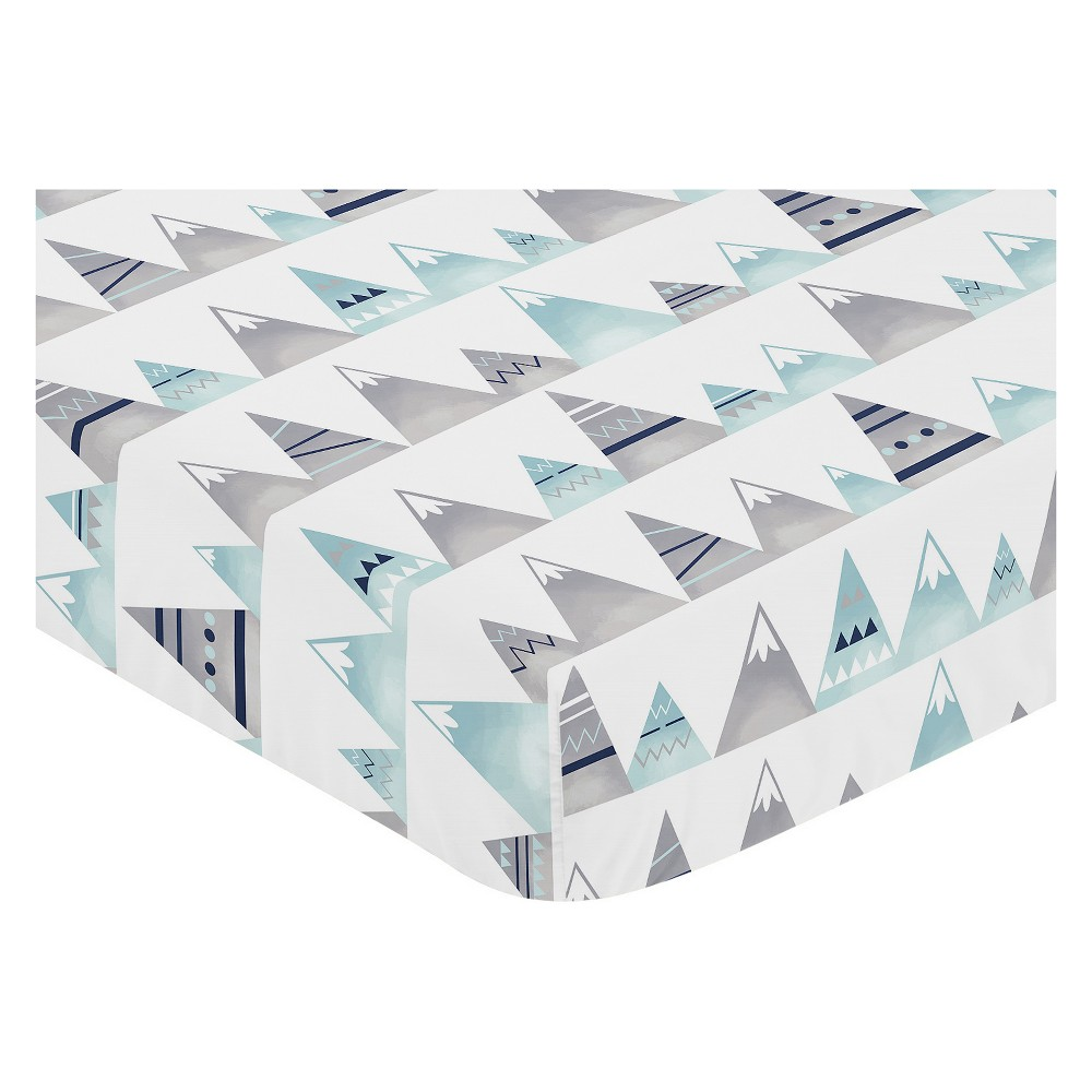 Sweet Jojo Designs Fitted Crib Sheet - Mountains Print - White