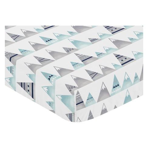 Sweet Jojo Designs Fitted Crib Sheet - Mountains Print - White - image 1 of 2