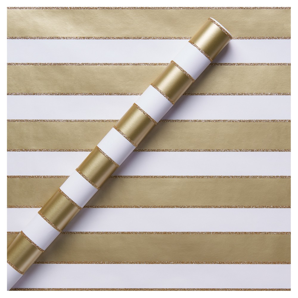 Gold Glitter Stripe Gift Wrap - Spritz, Multi-Colored