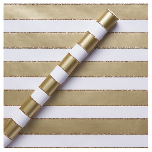 Gold Glitter Stripe Gift Wrap - Spritz™ - image 1 of 1