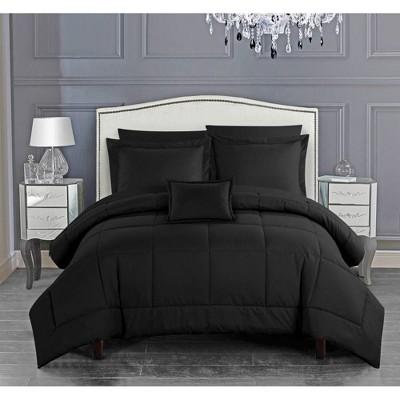 Chic Home Queen 8pc Jorin Bed in a Bag Comforter Set Black