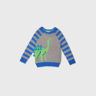 Toddler Boys' Dino Critter Striped Sleeve Pullover Sweater - Cat & Jack™ Blue