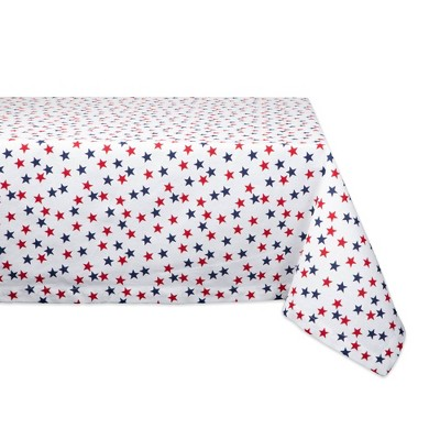 120 x60  Americana Stars Print Tablecloth White/Red - Design Imports