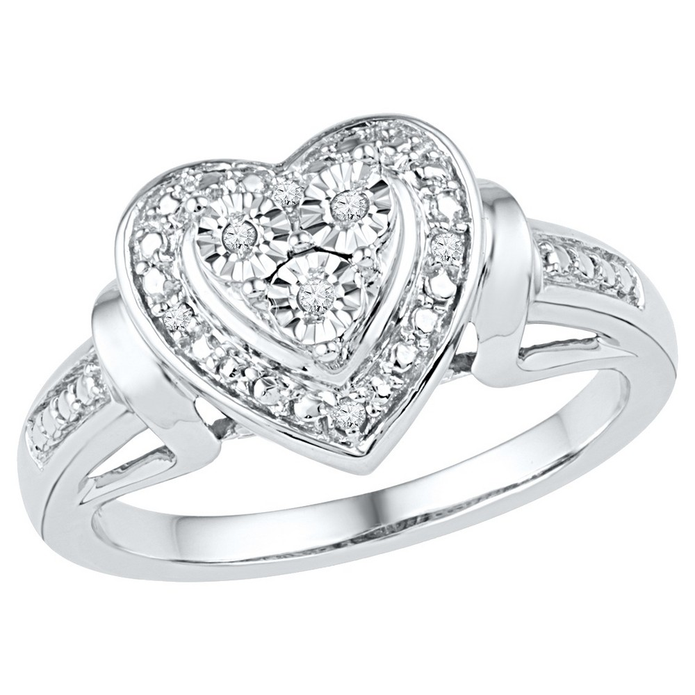 1/20 CT. T.W. Round Diamond Miracle Set Heart Ring in Sterling Silver (6), Girl's, White