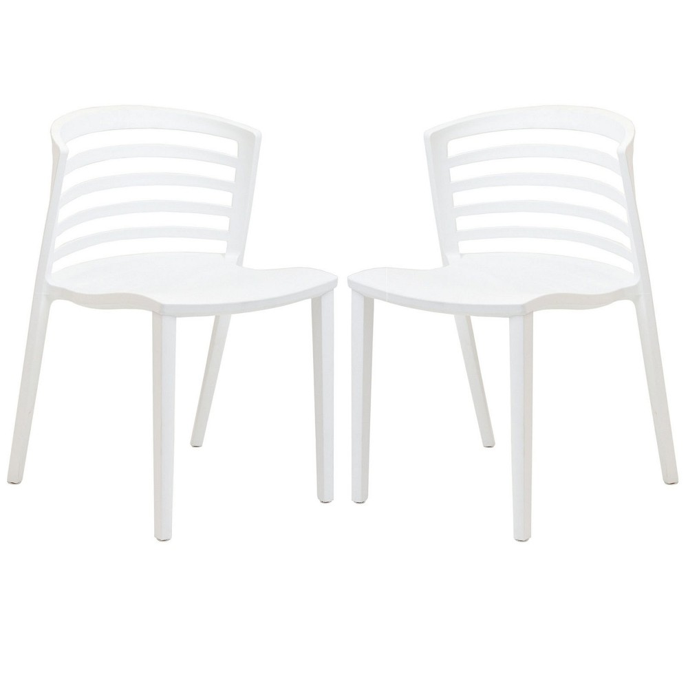 Curvy Dining Chairs Set of 2 White - Modway