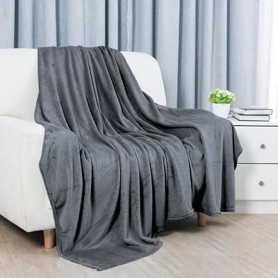 1 Pc 100% Polyester Soft Warm Fleece Plain Plush Bed Blankets - PiccoCasa
