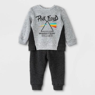 Baby Boys' 2pk Pink Floyd Fleece Long Sleeve Top and Bottom Set - Gray