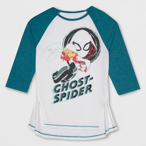 f5c72d8062f Girls  Marvel Rising Ghost Spider 3 4 Sleeve Raglan T-Shirt - Ivory Teal