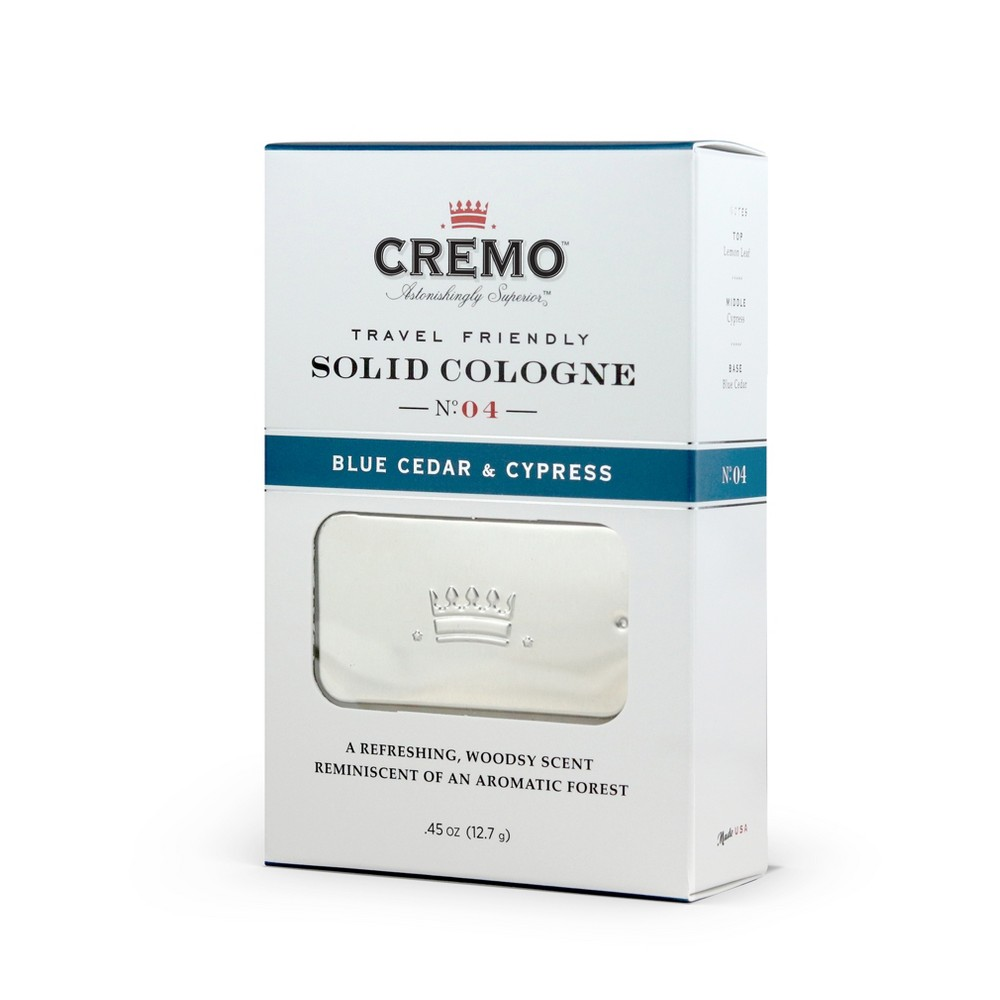 Image of Cremo Blue Cedar and Cypress Men's Solid Cologne - .45oz