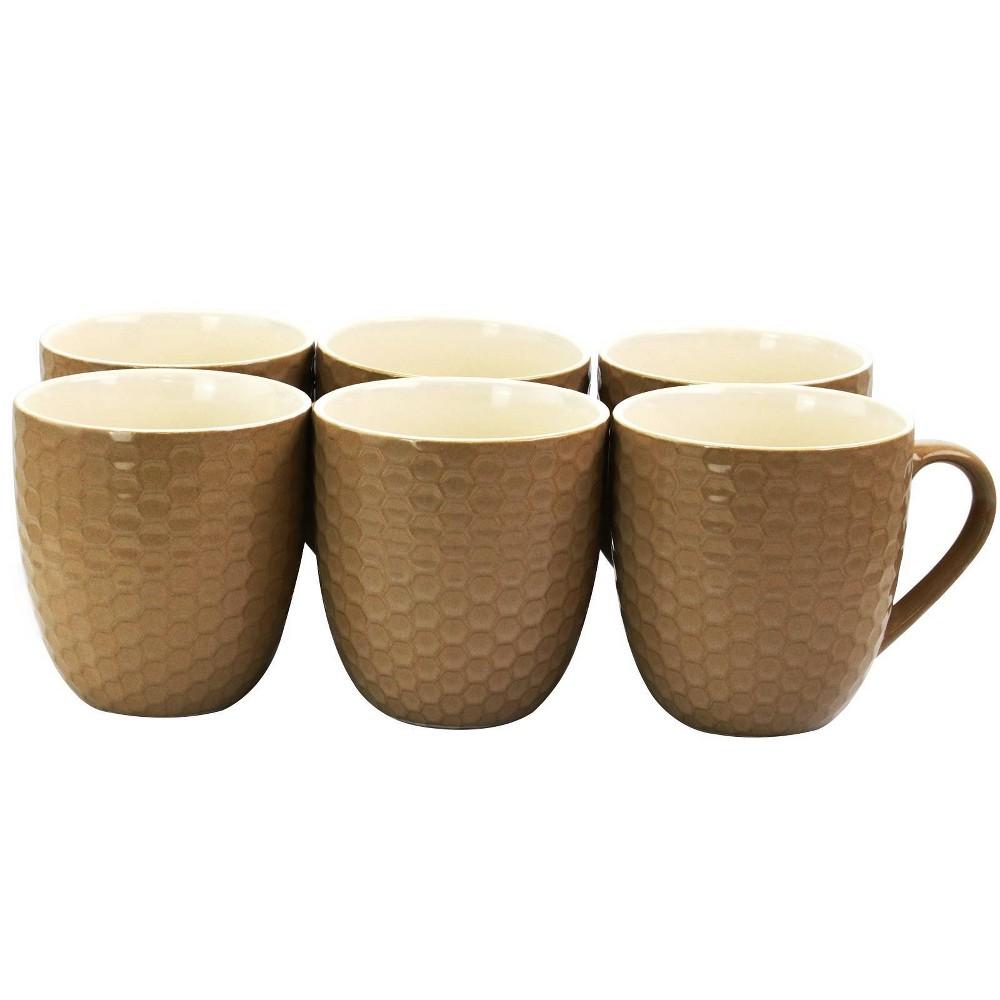 Image of 15oz 6pk Stoneware Hexagon Mugs Brown - Elama
