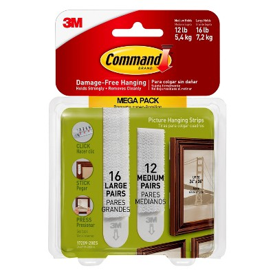 Command™ Medium and Large Picture Hanging Strips, 12 Sets of Medium, 16 Sets of Large/Pack