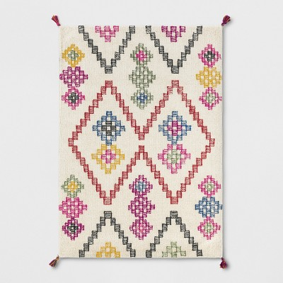 5'X7' Geometric Wool Tasseled Tufted Area Rug White/Pink/Yellow - Opalhouse™
