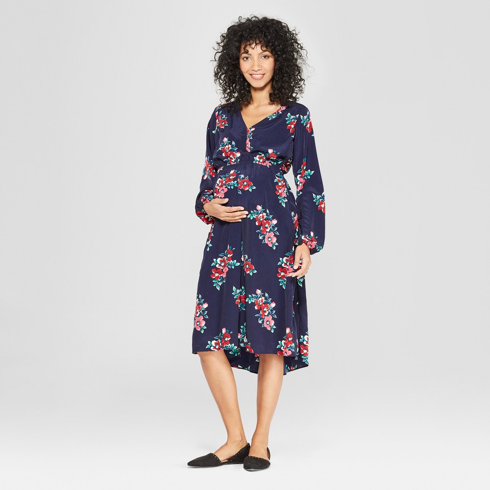 Maternity Floral Print Ruched Woven Dress - Isabel Maternity by Ingrid & Isabel Navy Xxl, Women's, Blue