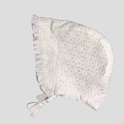 Baby Girls' Eyelet Bonnet Hat - Cat & Jack™ White 6-12M
