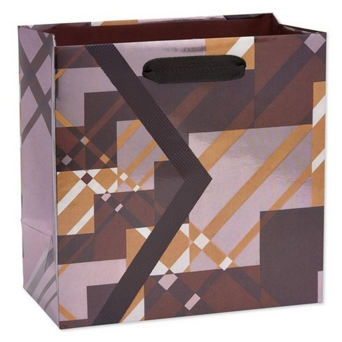 Geo Plaid Medium Father's Day Gift Bag - Papyrus - image 1 of 3