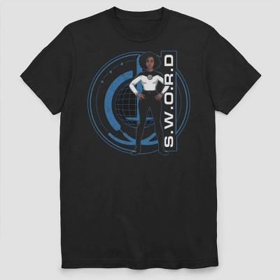 Men's Marvel Wandavision SWORD Wanda and Logo Short Sleeve Graphic Crewneck T-Shirt - Black