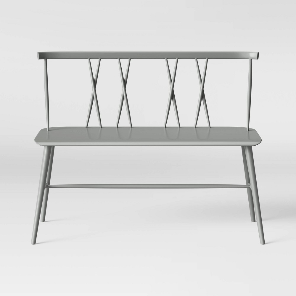 Becket Metal X Back Dining Bench Gray - Project 62