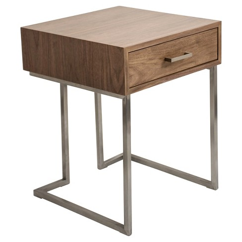 Roman Contemporary End Table - Walnut/Stainless Steel - Lumisource - image 1 of 4