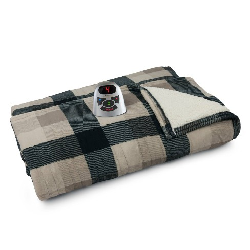 Full Queen Microplush Sherpa Electric Bed Blanket Beige Black Plaid Biddeford Blankets Target