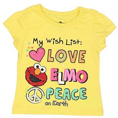 Sesame Street Girl's Elmo Short Sleeve Graphic Tee Shirt for Toddlers