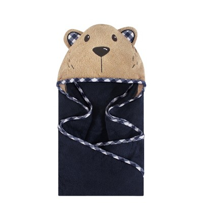 Hudson Baby Infant Boy Cotton Animal Face Hooded Towel, Plaid Bear, One Size
