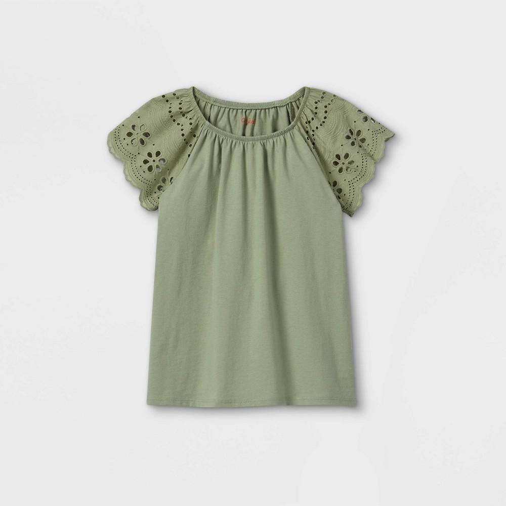 Girls 39 Eyelet Short Sleeve T Shirt Cat 38 Jack 8482 Army Green L