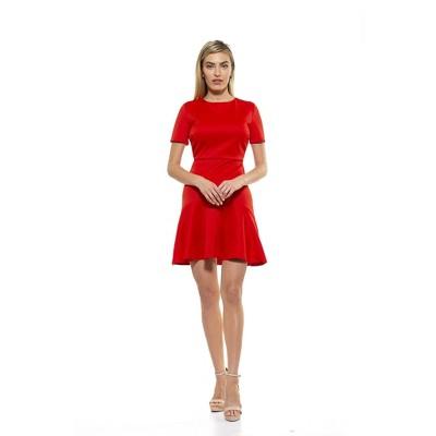 Alexia Admor Monica Crewneck Midi Flounce Dress